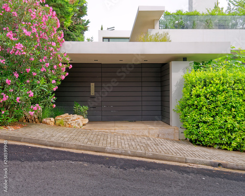 Poster Taupe modern luxury house entrance with dark brown wooden door, plants and flowers