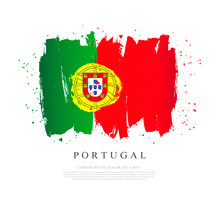 Flag Of Portugal. Vector Illustration. Brush Strokes. Independence Day.
