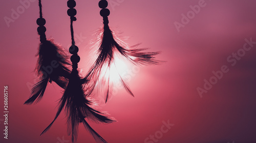 Photo Stands Candy pink Blurred image, Dream catcher native american in the wind and blurred bright light background, hope and dream concepts