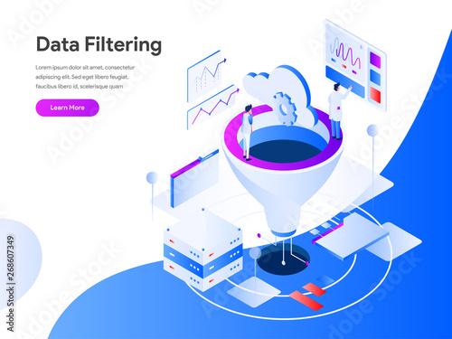 Data Filtering Isometric Illustration Concept  Modern flat
