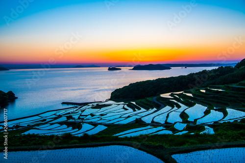 Fotobehang Rijstvelden Doya Tanada, sunset on the rice field, kyushu, japan