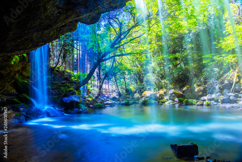 Wall Murals Waterfalls Nabegatai, waterfall in forest, Kumamoto Japan