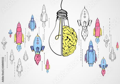 Obraz na plátně  Startup, brainstorm and idea concept