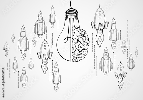 Fotografie, Obraz  Startup, brainstorm and innovation concept