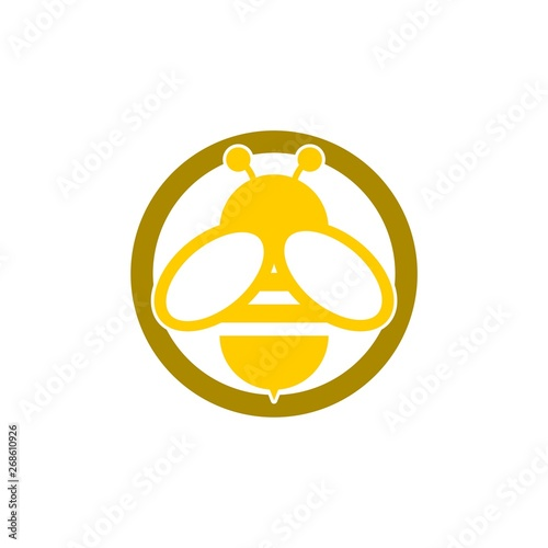 Bee sign logo, Honeybee or apis symbol Wallpaper Mural