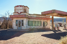 Old Gas Station In Sahara Desert Near Ouarzazate, Morocco.