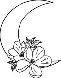 Fototapeta Dinusie - Illustration of flowers and moon. Black and white silhouette