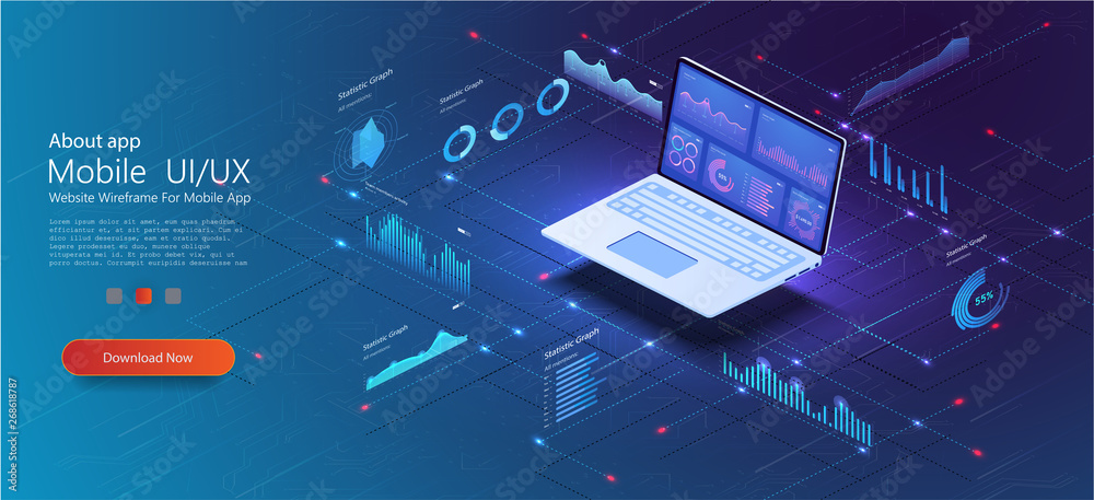 Fototapety, obrazy: Application of laptop with business graph and analytics data on isometric laptop . Analysis trends and financial strategy by using infographic chart. Online statistics and data Analytics. Vector