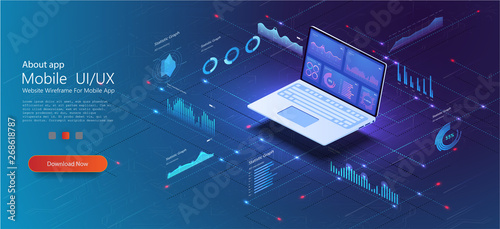Fotografía  Application of laptop with business graph and analytics data on isometric laptop