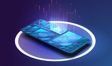 Electronic Board With Components, New Technology Or Repair Concept  In Smartphone. Microchip Processor With Lights On The Blue Background. Vector. Esim