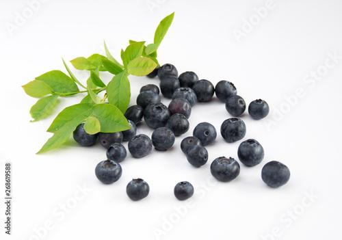 Fotografering Owoce borówki z liśćmi blueberry
