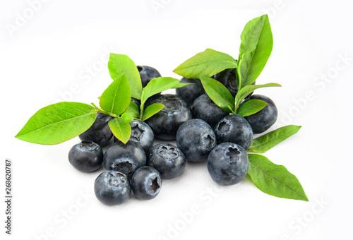 Fotografija Owoce borówki z liśćmi blueberry