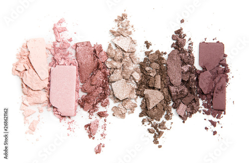 Fotografija A smashed, neutral toned eyeshadow make up palette isolated on a white backgroun