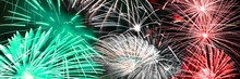 Green White And Red Fireworks ...