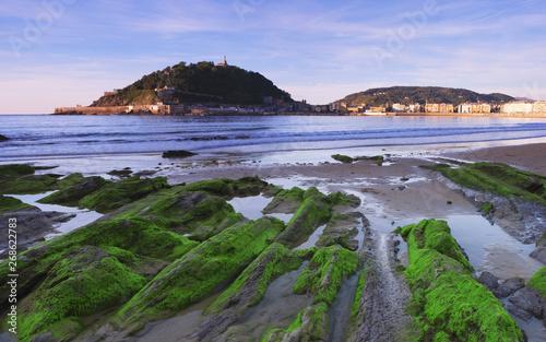 La Concha beach with the cantabrian sea in the city of San Sebastian, Spain, Eur Poster Mural XXL