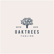 oak tree vector logo design