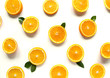 Round orange slices on a white background. Citrus tropical fruit background. Bright food. Dietary vitamin nutrition. A lot of vitamin C.