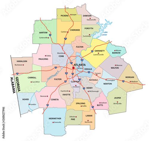 administrative and political road map of the Atlanta metropolitan area georgia Wall mural