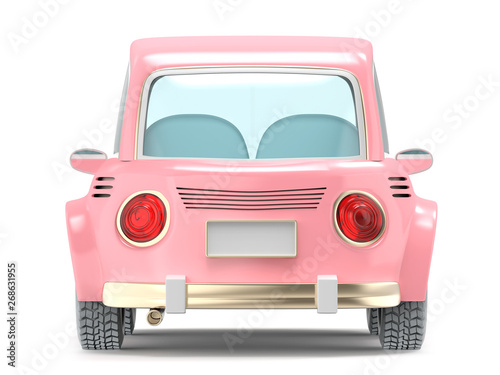 Spoed Foto op Canvas Cartoon cars car small cartoon pink back