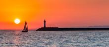 Panoramic View Of Ocean Sunset...