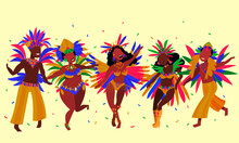 People Having Fun In Notting Hill Carnival. Vector Illustration Of Dancing People