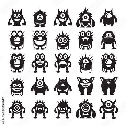 Poster Chambre d enfant monster avatar character icons vector
