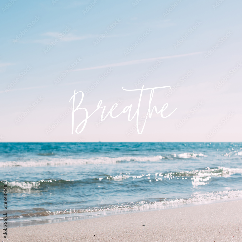 Fototapety, obrazy: Summer sand beach concept with motivational quote