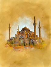 The Hagia Sophia (AYASOFYA) In İstanbul.Watercolor Illustration On Vintage Paper.