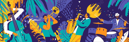 Jazz quartet. Musicians performing music on abstract floral background.