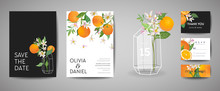 Set Of Botanical Wedding Invitation Card, Vintage Save The Date, Template Design Of Orange Fruit, Flowers And Leaves, Blossom Illustration. Vector Trendy Cover, Graphic Poster, Citrus Brochure