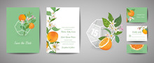 Set Of Botanical Retro Wedding Invitation Card, Vintage Save The Date, Template Design Of Orange Fruits And Leaves, Citrus Blossom Illustration. Vector Trendy Cover, Pastel Graphic Poster, Brochure