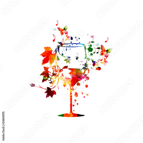 Leinwand Poster Colorful wine glass with vine background vector illustration