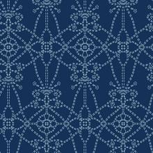 Flower Butterfly Motif Sashiko Style. Japanese Needlework Seamless Vector Pattern. Hand Stitch Indigo Blue Line Textile Print. Classic Japan Decor, Asian Fusion Embroidery. Kimono Quilting Template.