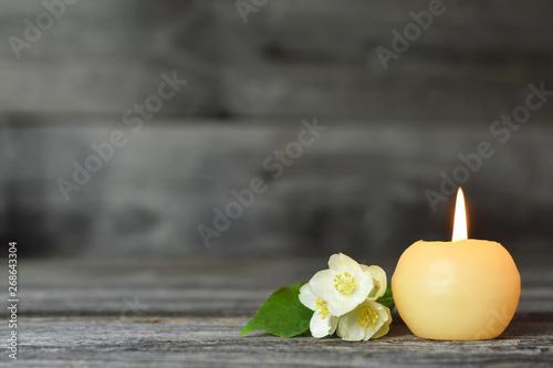 Candle and flower. Condolence card Fototapeta