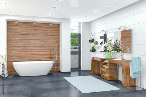 Photo 3d Illustration - Modernes Badezimmer in weiß mit einer freistehenden Badewanne,