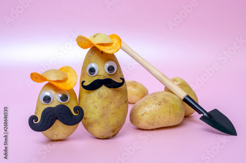 Photo  funny potato head with face on pink background