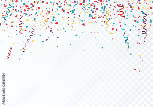 Obraz Celebration or festival colorful background template with falling paper confetti and ribbons. Vector illustration isolated on transparent background - fototapety do salonu