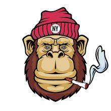 Monkey Smoking A Cigarette. Mascot Logo.