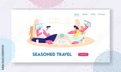 Staande foto Kasteel Young Man and Woman Showing to Each Other Tablets with Pictures of Traveling Places. Choice Trip Route for Vacation, Gadgets. Website Landing Page, Web Page. Cartoon Flat Vector Illustration, Banner