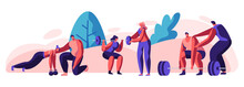 People Training In Gym With Coach Help. Male And Female Characters In Sports Wear Workout With Weight And Dumbbells. Training, Exercises, Sport Activity, Healthy Life. Cartoon Flat Vector Illustration