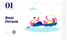 Young Happy Couple Floating Boat. Man Rowing Water With Paddle, Girl Hold Shawl. Summertime Vacation, Loving People Sparetime Website Landing Page, Web Page. Cartoon Flat Vector Illustration, Banner