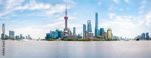 Photo  Shanghai city skyline, Panoramic view. Huangpu river, China.