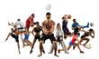 Multi sports collage volley ball beach, mma fighter, basketball, taekwondo, karate, tennis, etc. Isolated