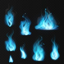 Blue Flame. Burning Fiery Natural Gas Hot Fireplace Flames Warm Fire Blazing Bonfire Effect Blue Magic Flaming Vector Set