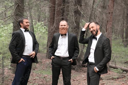 Fotografie, Obraz three business partners talking in the woods