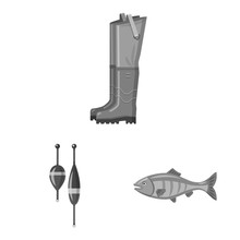 Vector Design Of Fish And Fishing Sign. Collection Of Fish And Equipment Stock Symbol For Web.