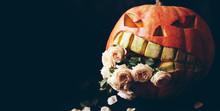 Evil Pumpkin Devouring Flowers. Halloween Decor.