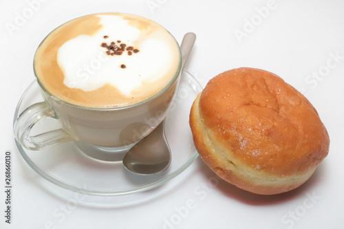 cappuccino e krapfen su sfondo bianco, cappuccino and krapfen o white background Wallpaper Mural
