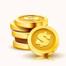 Stack Of Golden Dollar Coins Isolated On White Background.