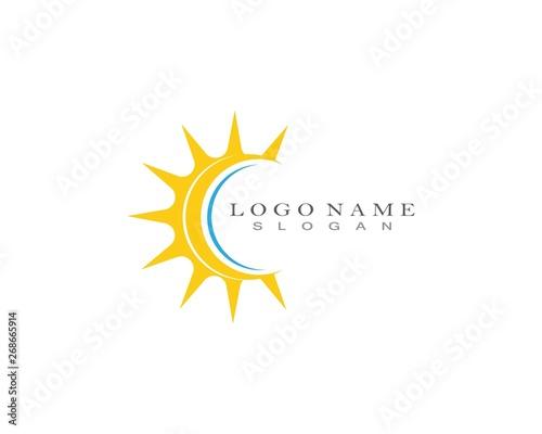 Sun icon logo design vector